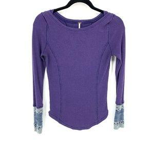 Free People Purple Thermal Cuff Wool Cuff Top